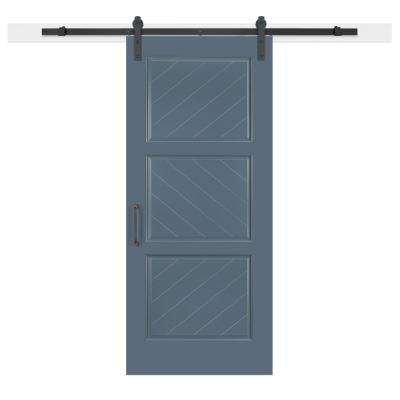 36 in. x 84 in. Pacific Composite 3-Panel Herringbone Solid-Core MDF Barn Door with Sliding Door Hardware Kit