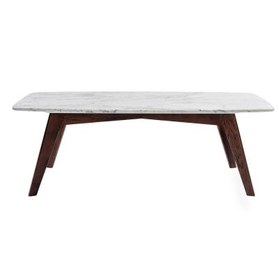 Faura 44 in. Oak White/Dark Brown Large Rectangle Marble Coffee Table with Walnut Legs