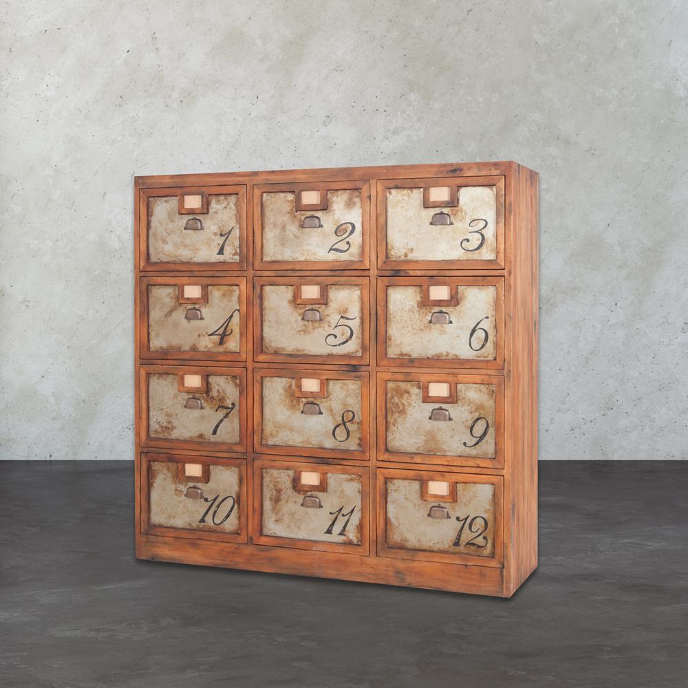 Titan Lighting Metal Chest Natural Aged Old Tin Natural Aged Woodtone