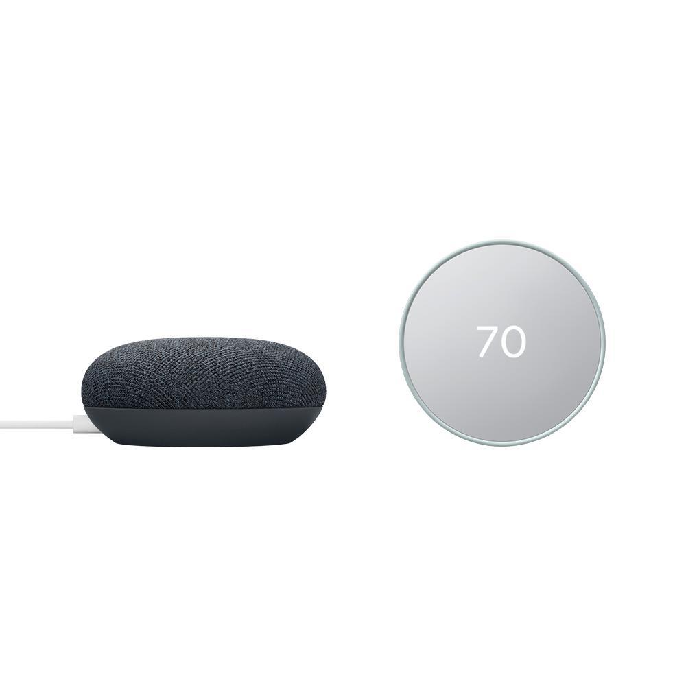 Nest Thermostat Fog + Nest Mini (2nd) Smart Speaker Charcoal