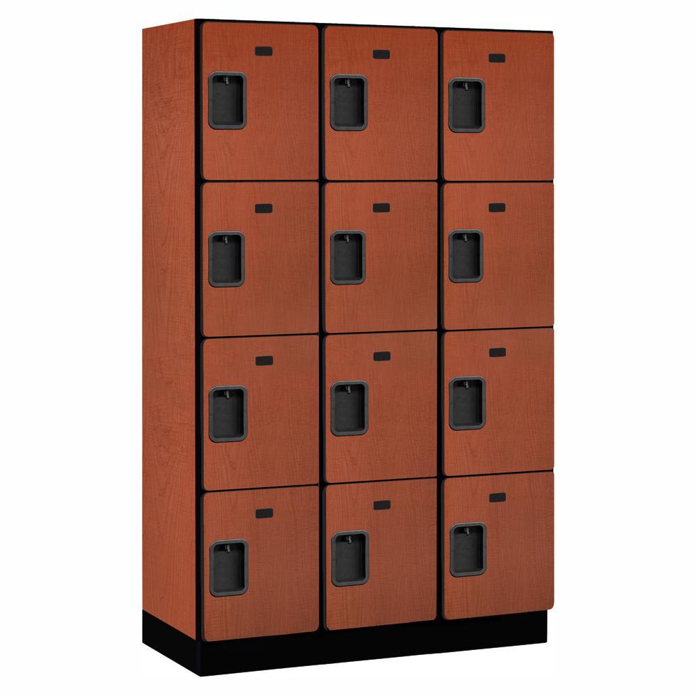Salsbury Industries 24000 Series 4 Tier 18 in. D Compartments Extra Wide Designer Wood Locker in Cherry