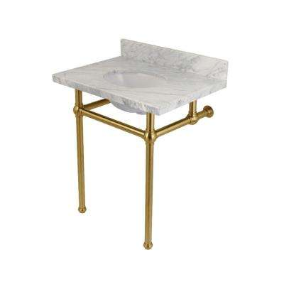 Washstand 30 in. Console Table in Carrara Marble White with Metal Legs in Satin Brass
