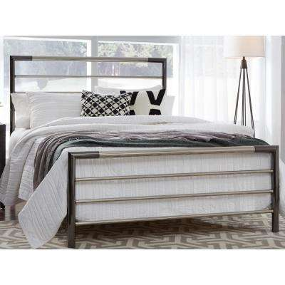 Kenton Chrome and Black Nickel California King Complete Metal Bed with Horizontal Bar Design
