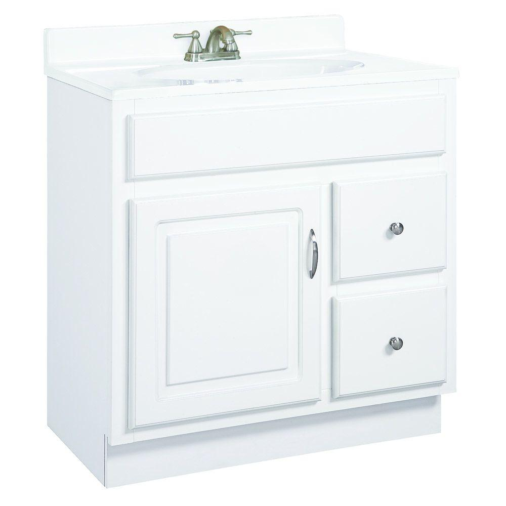 Design House Wyndham 30 In W X 18 In D Unassembled Vanity Cabinet Only In White Semi Gloss