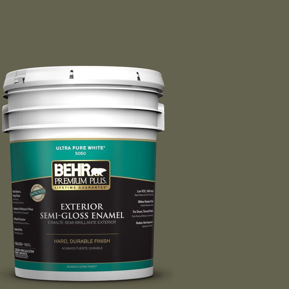 5-gal. #N350-7 Russian Olive Semi-Gloss Enamel Exterior Paint