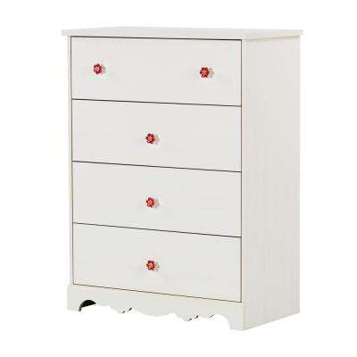 Lily Rose 4-Drawer White Wash Chest