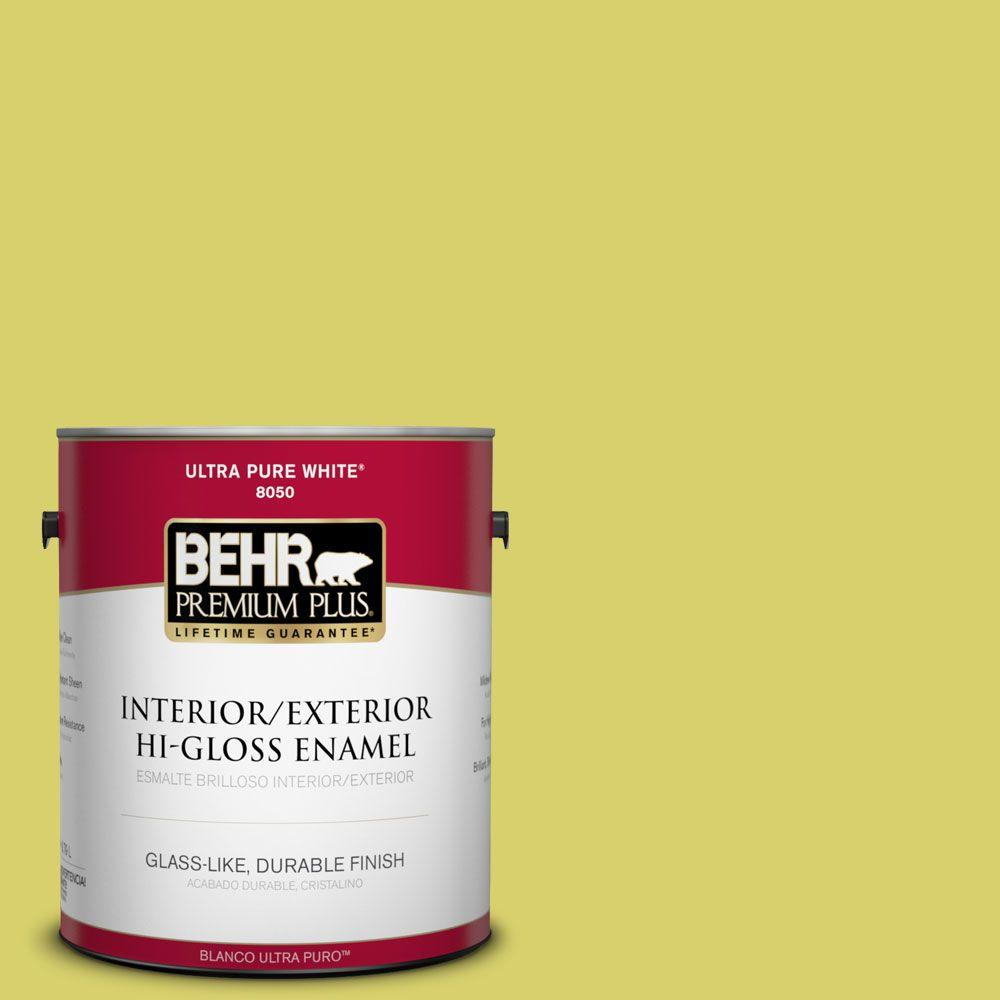 1-gal. #P340-4 Lime Tree Hi-Gloss Enamel Interior/Exterior Paint