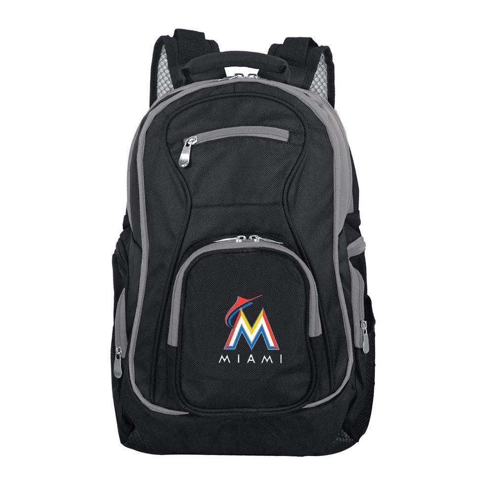 MLB Miami Marlins 19 in. Black Trim Color Laptop Backpack