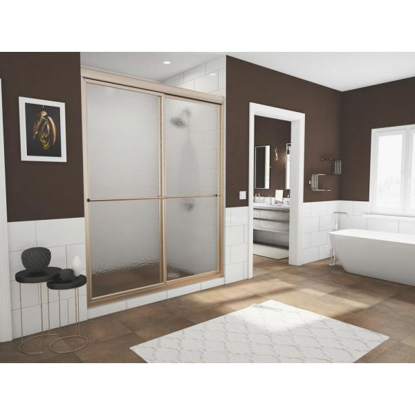 Newport 44 in. to 45.625 in. x 70 in. Framed Sliding Shower Door with Towel Bar in Brushed Nickel and Aquatex Glass