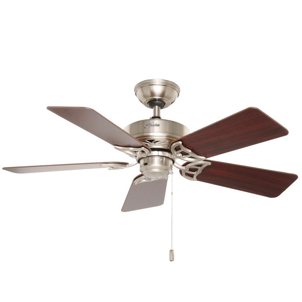 Hunter discovery 48 in indoor brushed nickel ceiling fan with hunter discovery 48 in indoor brushed nickel ceiling fan with light kit 52019 the home depot mozeypictures Gallery