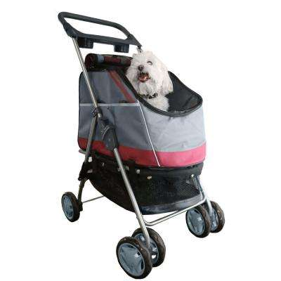 Dark Red Outdoors All-Surface Convertible All-In-One Dog Stroller Carrier and Car Seat