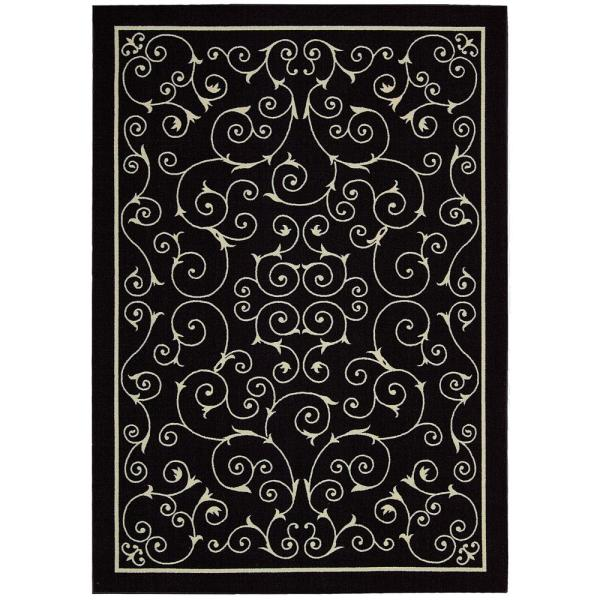 Home and Garden Pavilion Black 10 ft. x 13 ft. Floral Transitional Indoor/Outdoor Area Rug