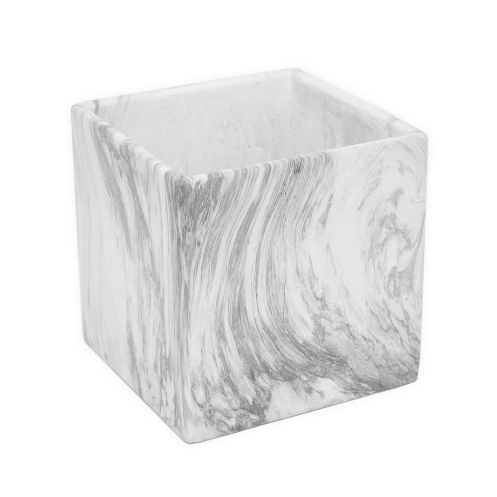 Three Hands White Marble Look Flower Pot 13963 The Home Depot