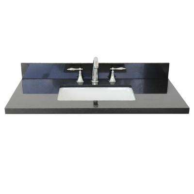 Ragusa II 37 in. W x 22 in. D Granite Single Basin Vanity Top in Black with White Rectangle Basin
