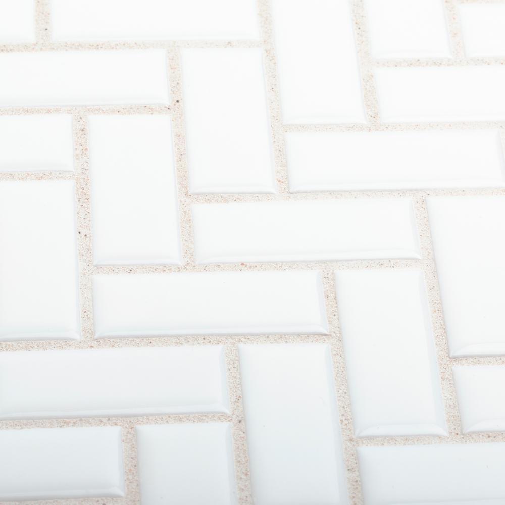 Allegro White Herringbone 10.25 in. x 11 in. x 9.5 mm Glossy Ceramic Mosaic Tile