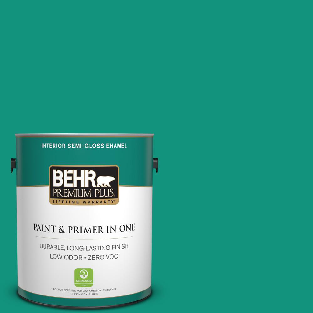 BEHR Premium Plus 1-gal. #S-G-480 Aqua Waters Zero VOC Semi-Gloss Enamel Interior Paint