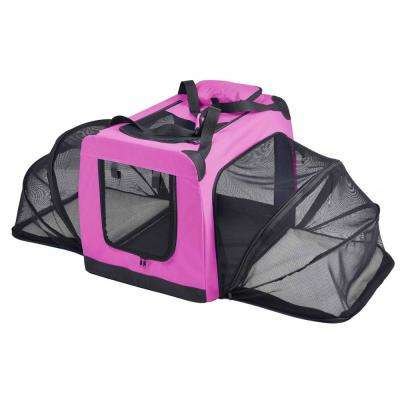 Hounda Accordion Metal Framed Collapsible Expandable Pet Dog Crate - Medium in Pink