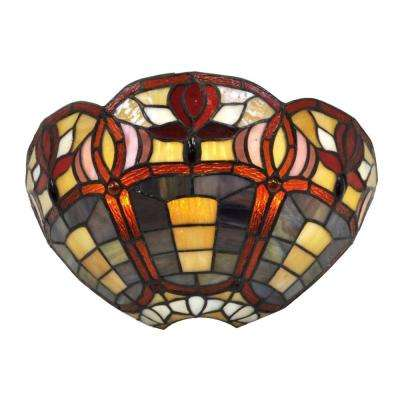 7-Light Stained Glass Half Moon Battery Operated LED Sconce with 3 Flowers