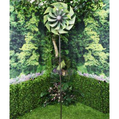 72 in. Green Metal Windmill Garden Stake