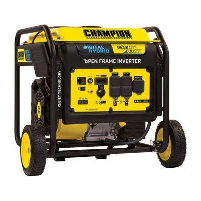 DH Series 6,250-Watt Gasoline Powered Recoil Start Open Frame Inverter Generator with 301 cc Engine