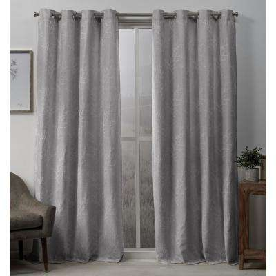 Stanton 54 in. W x 96 in. L Woven Blackout Grommet Top Curtain Panel in Dove Grey (2 Panels)