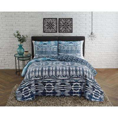 Alexis 3-Piece Blue Queen Quilt Set