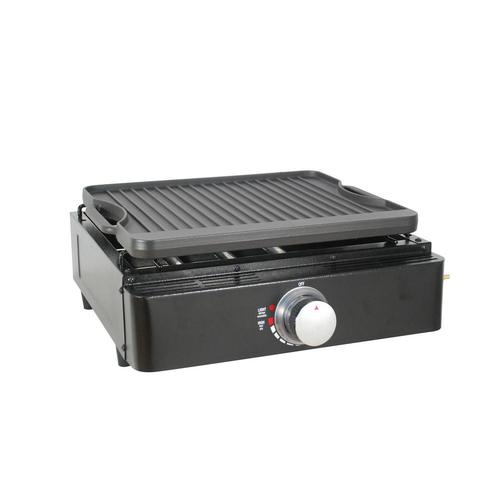 Lifesmart Single Burner Tabletop Propane Reversible Griddle in Black with 2 Separate Griddle Surfaces