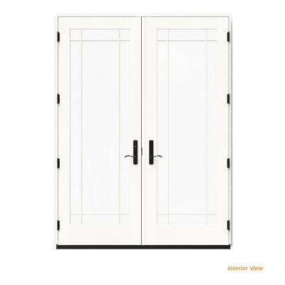 72 in. x 96 in. W-4500 White Clad Wood Right-Hand 9 Lite French Patio Door w/White Paint Interior