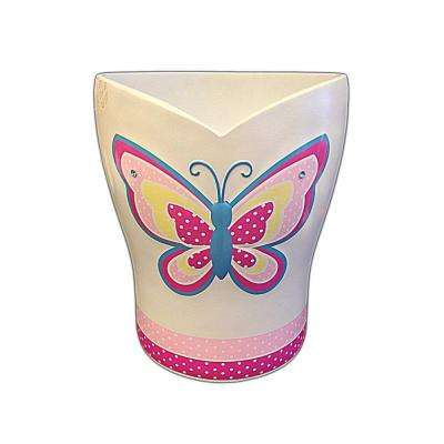 Butterfly Dots Collection 10 in. Wastebasket in White with Pink Multicolor Details