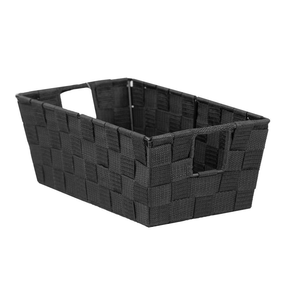 12 in. D x 5 in. H x 7 in. W Black Fabric Cube Storage Bin
