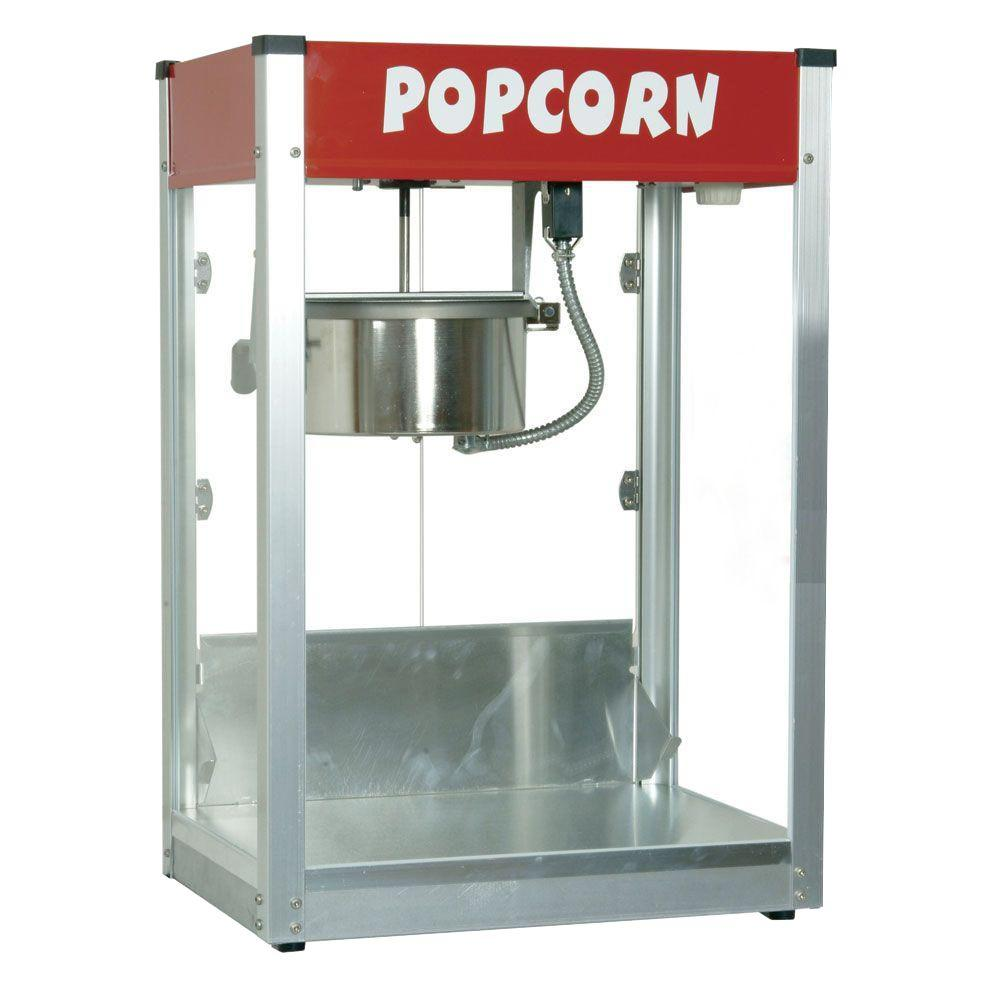 Paragon Thrifty Pop 8 oz. Popcorn Machine, Red/Orange Paragon's Thrifty Pop equipment is priced affordably so you can offer customers quick, ready-in-minutes popcorn at highly-profitable price point. It features many of the same great qualities of our other equipment - such as tempered glass panels and a high-output kettle - while offering you a budget-friendly option for your concession needs. 147 oz. per hour. Color: Red/Orange.