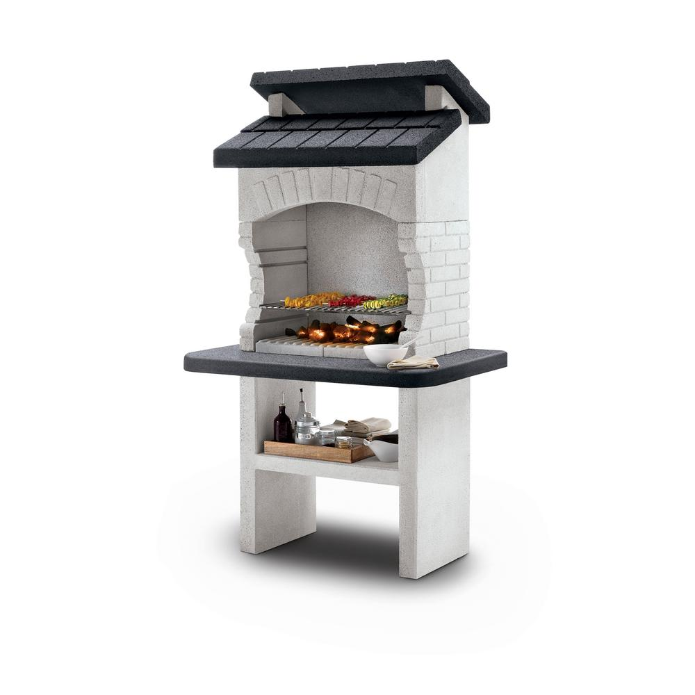LaToscana Palazzetti Olbia Charcoal or Wood Fire Outdoor Pedestal Grill in White Marmotech