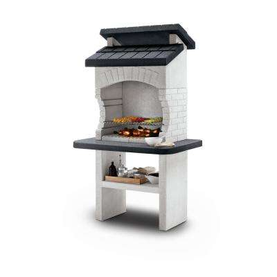 Palazzetti Olbia Charcoal or Wood Fire Outdoor Pedestal Grill in White Marmotech