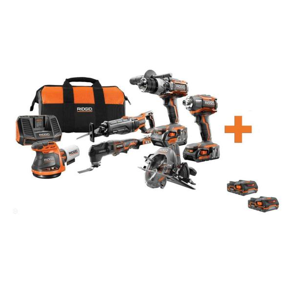 18-Volt Lithium-Ion Cordless 6-Tool Combo Kit with Bonus 18-Volt 1.5 Ah Lithium-Ion Battery (2-Pack)