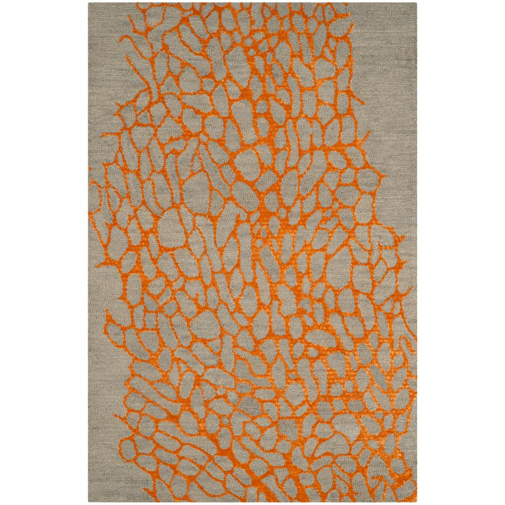 Blossom Gray/Orange 4 ft. x 6 ft. Area Rug