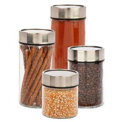 4-Piece 1350 ml, 1850 ml, 2350 ml and 3000 ml Glass Date Dial Jar Set with Lids