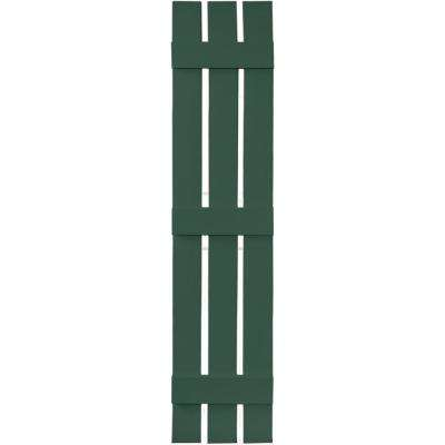 12 in. x 63 in. Board-N-Batten Shutters Pair, 3 Boards Spaced #028 Forest Green