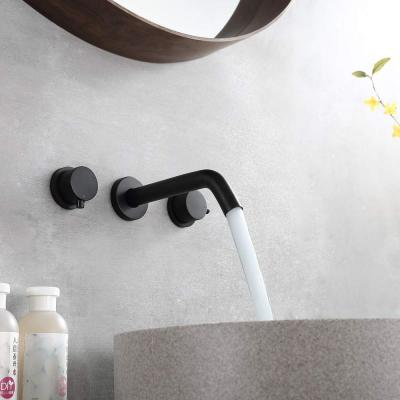 2-Handle Wall Mount Bathroom Faucet Basin Mixer Taps with Rough-in Valve in Black
