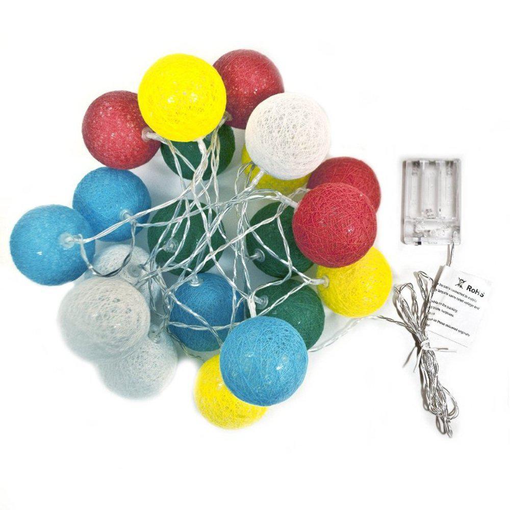 7 ft. 20-Light LED Multi-Color Cotton Balls String Light