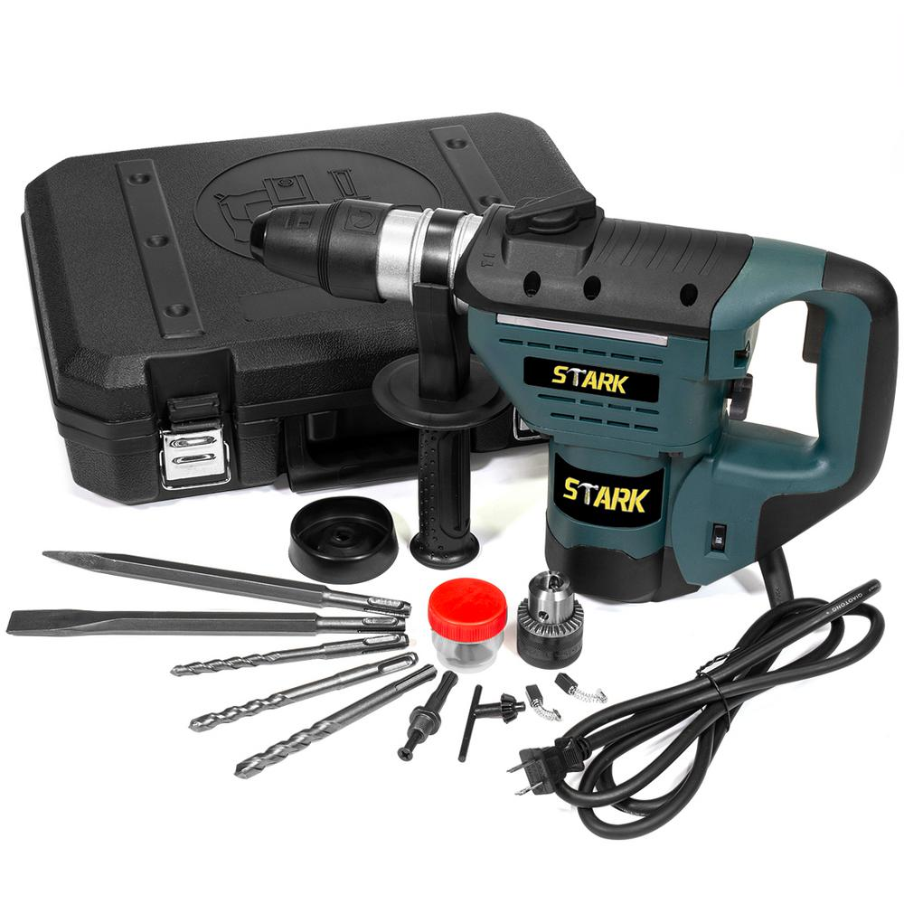 Stark 8.3 Amp Corded 1/2 in. Electric SDS-Plus Rotary Hammer Drill Kit with Chisel Bit Set