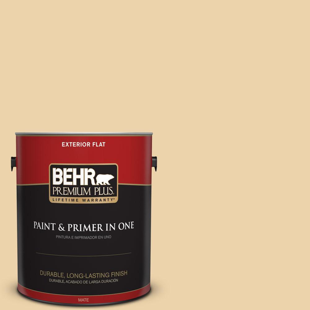 BEHR Premium Plus 1-gal. #ICC-51 Sweet Marzipan Flat Exterior Paint