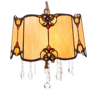 4-Light Beige Tiffany Style Stained Glass and Crystals Pendant