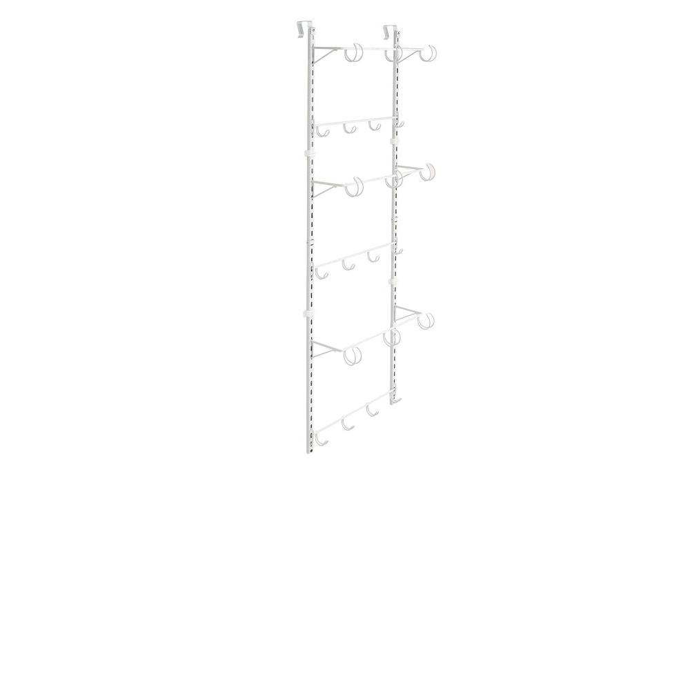 Over-the-Door Adjustable Hanging 21-Hook Rack Organizer in White