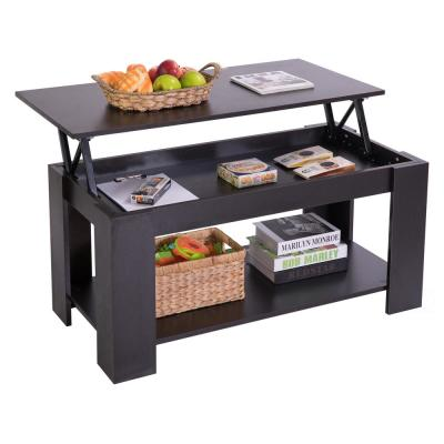 Modern Black Wood Coffee Table with Lift Tabletop