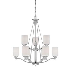 9-Light Satin Nickel Chandelier with Etched White Glass  sc 1 st  The Home Depot & Thomas Lighting Pendenza 8-Light Brushed Nickel Chandelier ... azcodes.com