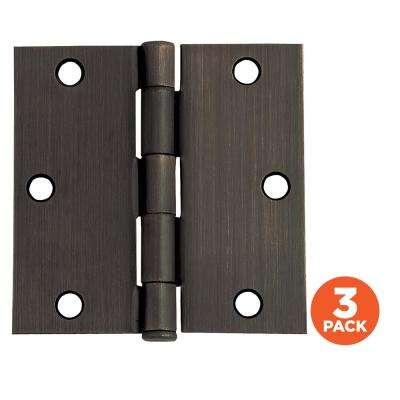 3-1/2 in. Square Corner Oil Rubbed Bronze Door Hinge Value Pack (3 per Pack)