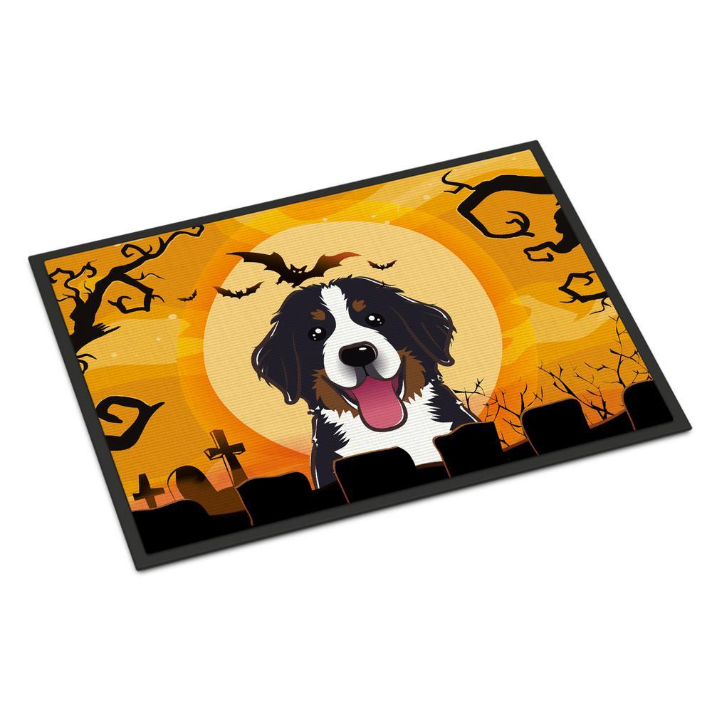 18 in. x 27 in. Indoor/Outdoor Halloween Bernese Mountain Dog Door Mat