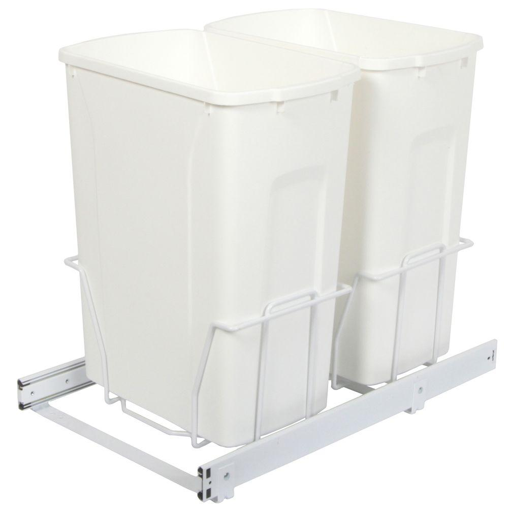 Knape & Vogt 18.75 in. x 14.38 in. x 20 in. In Cabinet Pull Out Bottom Mount Trash Can
