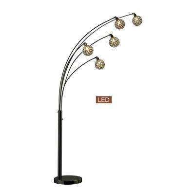Manhattan Quan 84 in. Crystal LED Arch Floor lamp-Jet Black