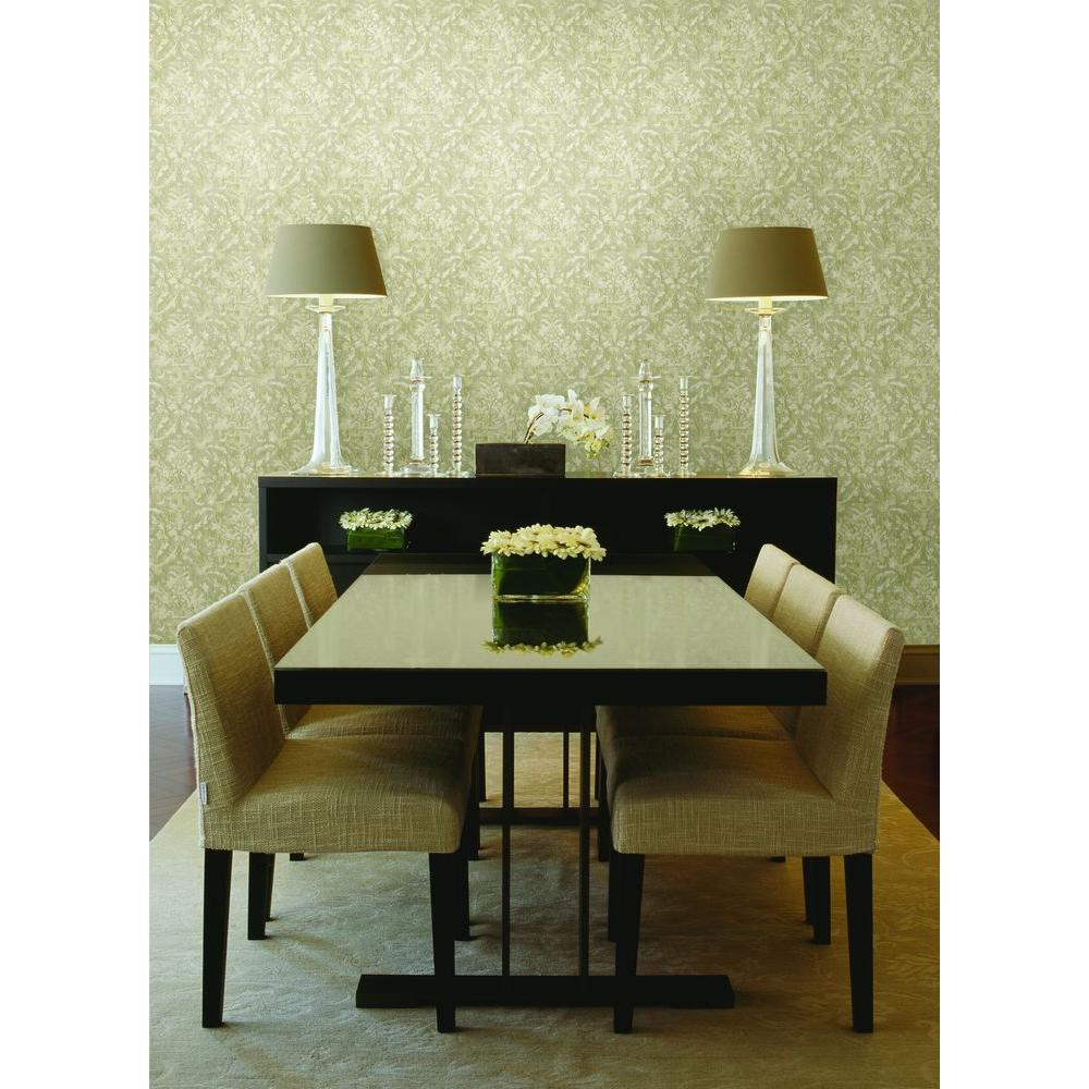 Mirage Majestic Olive Scrolling Damask Wallpaper